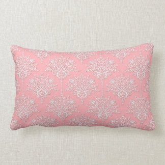 Girly Pink and White Damask Pattern Throw Pillows