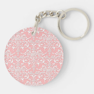 Girly Pink and White Floral Damask Pattern Keychain
