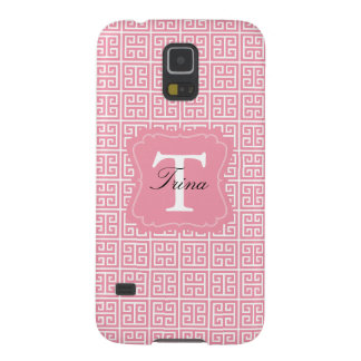 Girly Pink and White Greek Key Monogram Galaxy S5 Cover