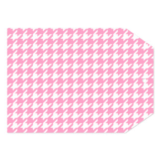 Girly Pink and White Houndstooth Pattern 5x7 Paper Invitation Card