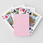 Girly Pink and White Houndstooth Pattern Bicycle Card Deck