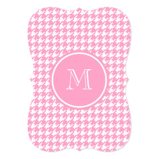 Girly Pink and White Houndstooth Your Monogram 5x7 Paper Invitation Card