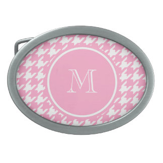 Girly Pink and White Houndstooth Your Monogram Oval Belt Buckles