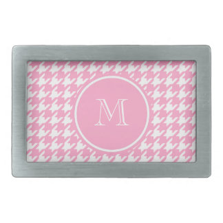 Girly Pink and White Houndstooth Your Monogram Rectangular Belt Buckles