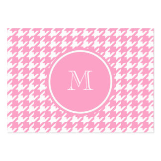 Girly Pink and White Houndstooth Your Monogram Business Card Template