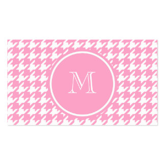 Girly Pink and White Houndstooth Your Monogram Business Card Templates