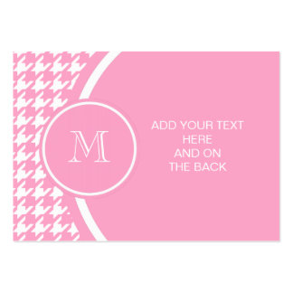 Girly Pink and White Houndstooth Your Monogram Business Cards