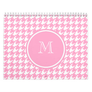 Girly Pink and White Houndstooth Your Monogram Calendars
