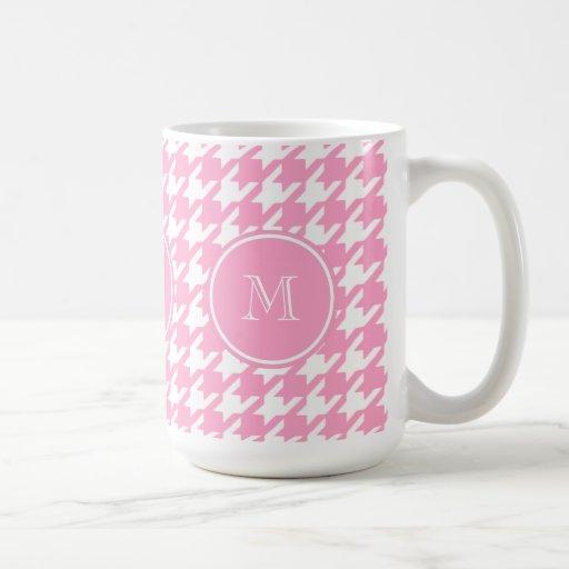 Girly Pink and White Houndstooth Your Monogram Coffee Mug