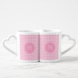 Girly Pink and White Houndstooth Your Monogram Coffee Mug Set