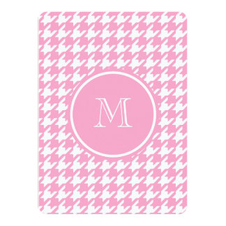 Girly Pink and White Houndstooth Your Monogram 5.5x7.5 Paper Invitation Card
