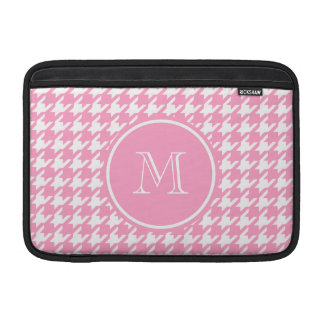 Girly Pink and White Houndstooth Your Monogram Sleeves For MacBook Air