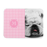 Girly Pink and White Houndstooth Your Monogram Rectangular Magnet