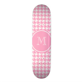 Girly Pink and White Houndstooth Your Monogram Skate Deck
