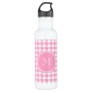 Girly Pink and White Houndstooth Your Monogram Stainless Steel Water Bottle
