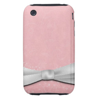 Girly Pink and White Ribbon Floral Design iPhone 3 Tough Cover