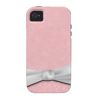 Girly Pink and White Ribbon Floral Design iPhone 4 Cover