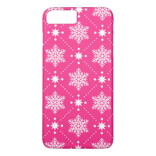 girly pink and white snowflakes christmas pattern iphone 8 plus7 plus case