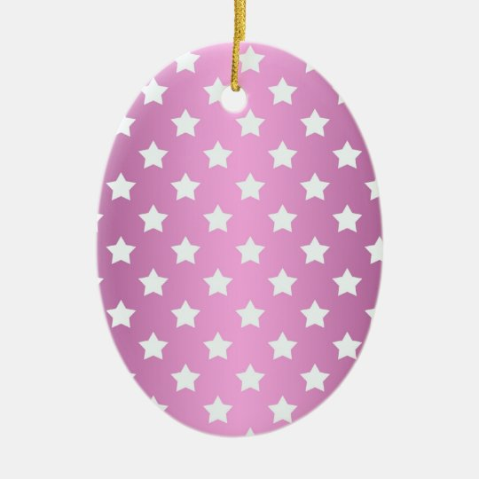 Girly Pink and White Stars Pattern Ceramic Ornament