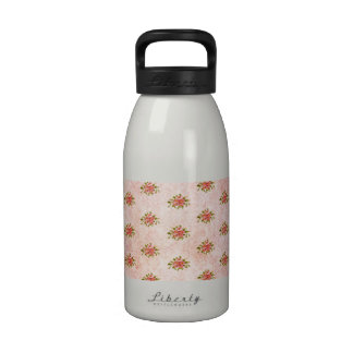 Girly Pink Antique Floral Pattern Vintage Damask Reusable Water Bottle