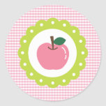 Girly Pink Apple Classic Round Sticker