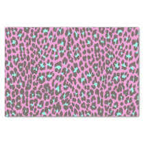 Girly Pink Aqua Black Leopard Animal Print Pattern Tissue Paper