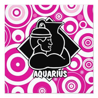 Girly Pink Aquarius Zodiac Sign Circles Retro Card
