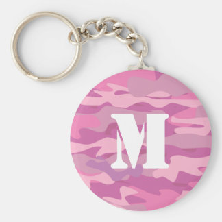 Girly pink army camouflage monogram keychain