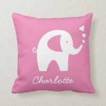 Girly pink baby elephant zipperless throw pillow
