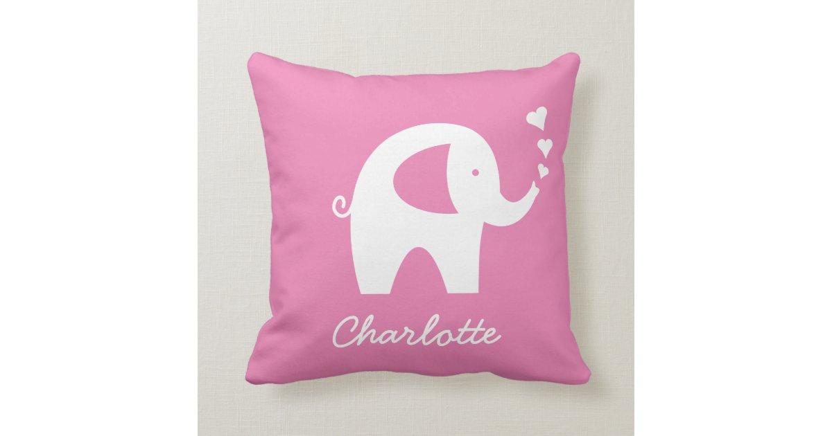 Pink Elephant Throw Pillow : Girly pink baby elephant zipperless throw pillow Zazzle