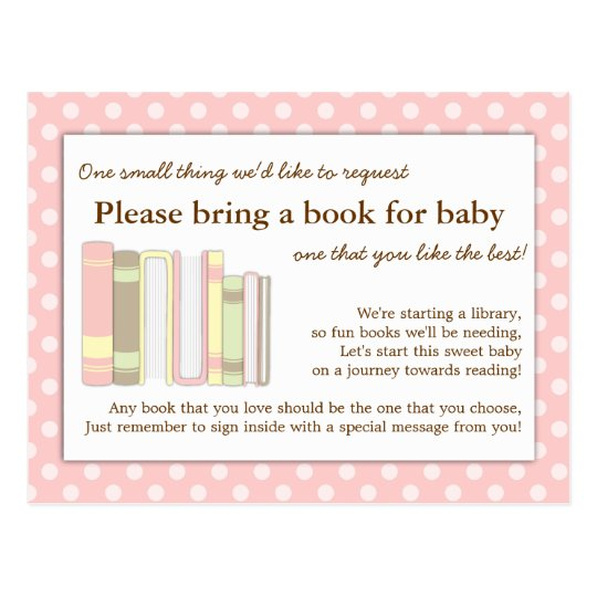 girly pink baby shower book insert request card zazzle