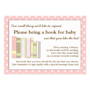 Girly Pink Baby Shower Book Insert Request Card Business Cards