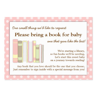 Girly Pink Baby Shower Book Insert Request Card Large Business Card