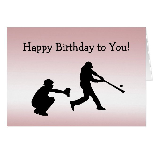 Girly Pink Baseball Play Ball Sports Birthday Card
