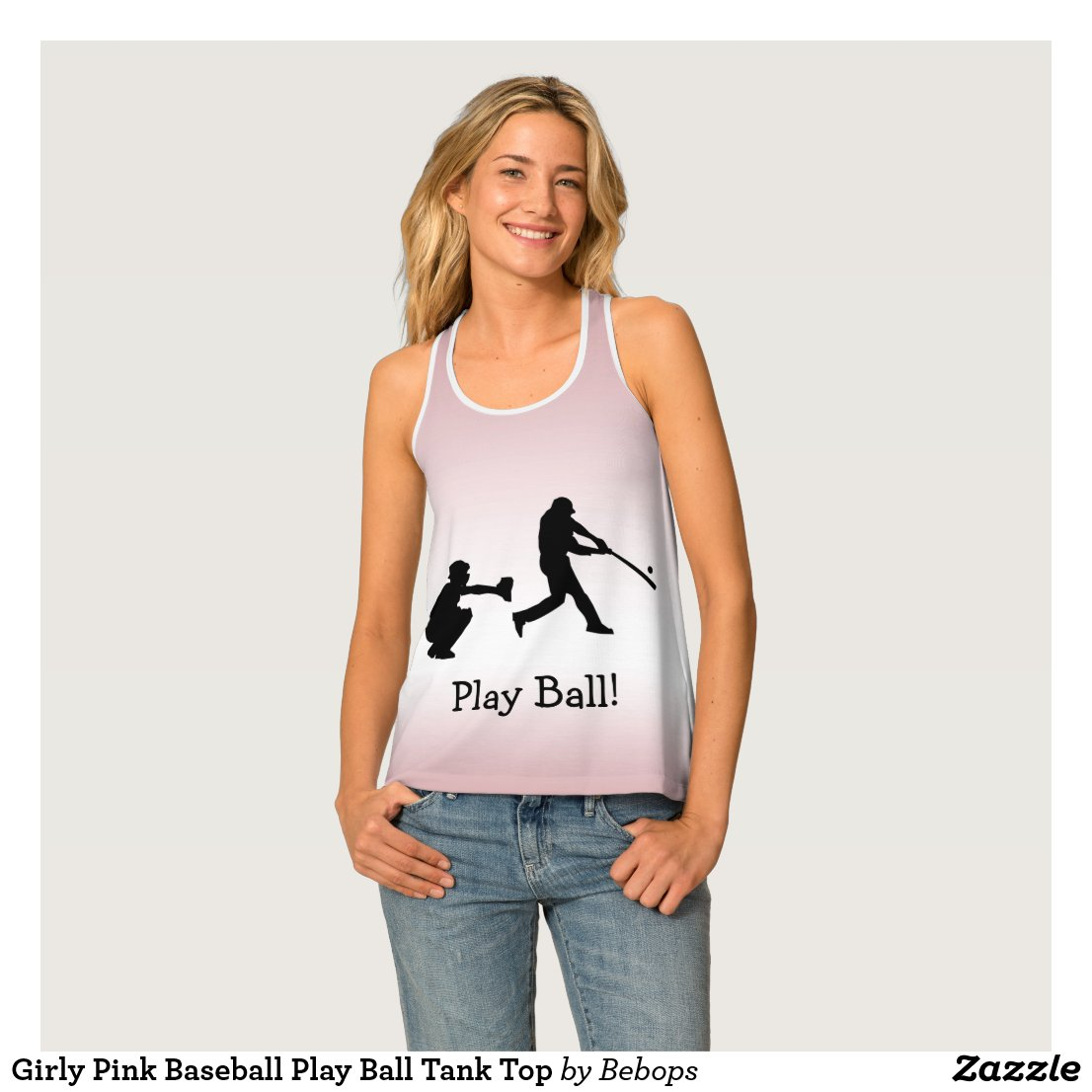 Girly Pink Baseball Play Ball Tank Top