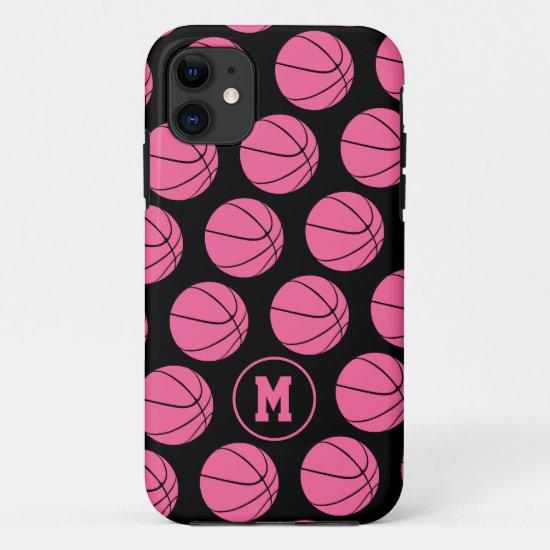 girly pink basketballs pattern monogrammed Case-Mate iPhone case