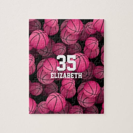 Girly pink basketballs pattern personalized jigsaw puzzle