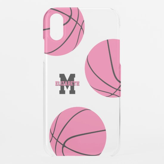girly pink basketballs sporty monogrammed uncommon iPhone case