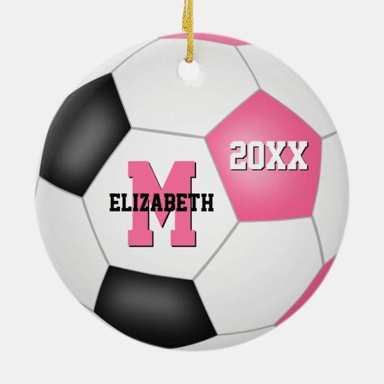 girly pink black cute keepsake soccer ceramic ornament