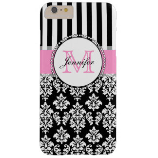 Girly Pink Black Damask Striped Monogrammed Barely There iPhone 6 Plus Case