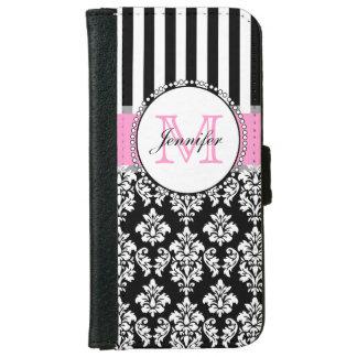 Girly Pink Black Damask Striped Monogrammed iPhone 6 Wallet Case