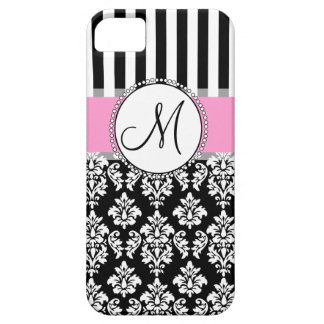Girly, Pink, Black Damask Your Monogram Initial iPhone 5 Cover