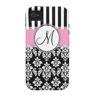Girly, Pink, Black Damask Your Monogram Initial iPhone 4 Cover