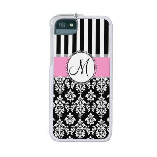 Girly, Pink, Black Damask Your Monogram Initial iPhone 5 Cases