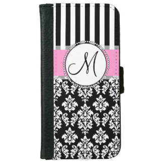 Girly, Pink, Black Damask Your Monogram Initial iPhone 6 Wallet Case