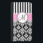 """Girly, Pink, Black Damask Your Monogram Initial Wallet Phone Case For Samsung Galaxy S5<br><div class=""""desc"""">Girly,  Pink,  Black and White Damask with Black and White Stripes Pattern you can personalize with Your Monogram Initial. A cute design for her. Elke Clarke©</div>"""
