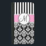 "Girly, Pink, Black Damask Your Monogram Initial Wallet Phone Case For Samsung Galaxy S5<br><div class=""desc"">Girly,  Pink,  Black and White Damask with Black and White Stripes Pattern you can personalize with Your Monogram Initial. A cute design for her. Elke Clarke&#169;</div>"