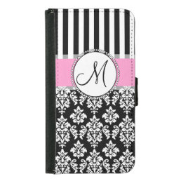 Girly, Pink, Black Damask Your Monogram Initial Wallet Phone Case For Samsung Galaxy S5
