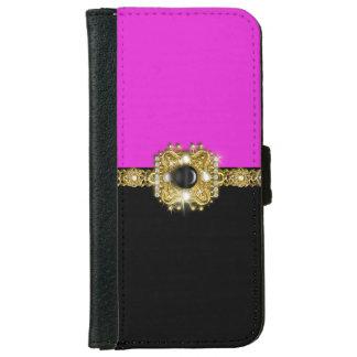 Girly pink black diamond gems iPhone 6 wallet case