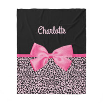 Girly Pink Black Leopard Print Cute Bow and Name Fleece Blanket